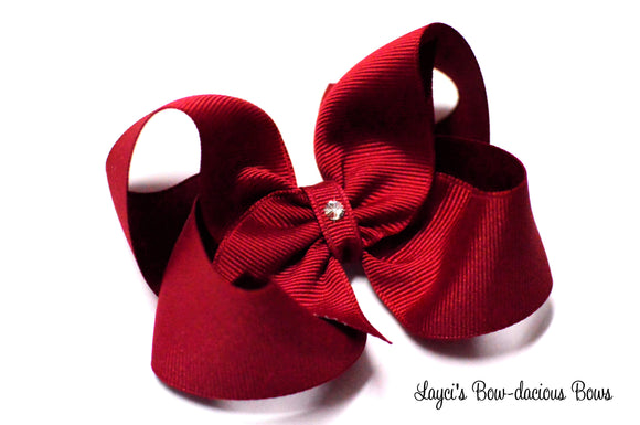 large cranberry red boutique hair bow