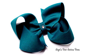 Jade boutique hair bow, small jade bow, large jade bow
