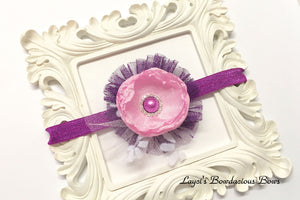 Pink and Purple Flower Headband