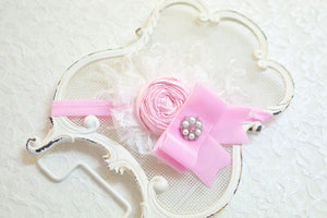 Pretty in Pink Hair Bow or Headband