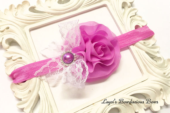 pink flower headband, purple flower headband