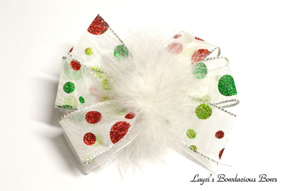 Red and Green Christmas Polka Dot Hair Bow