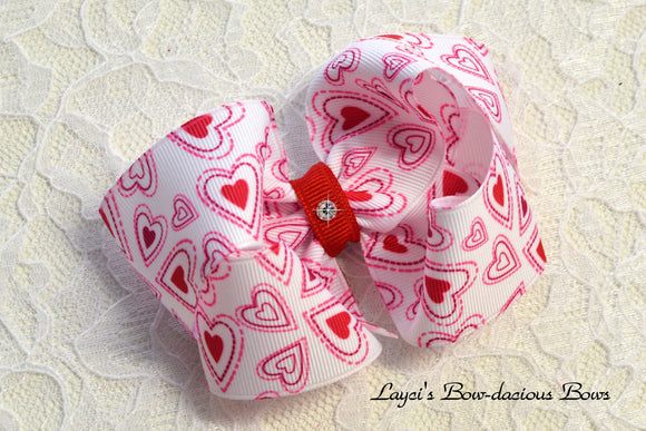 white with red hearts valentine's day bow