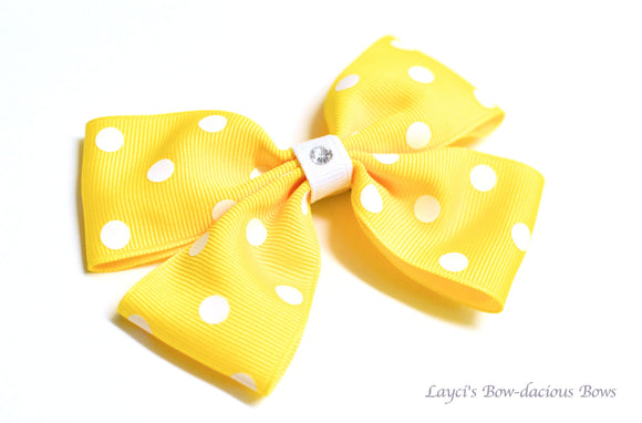 Yellow Polka Dot Double Bow Tie Hair Bow