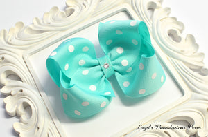 aqua blue bow with polkadots  polka dot bows, hair bows