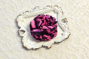 Pink and Black Flower Puff - Ready to Ship - B4
