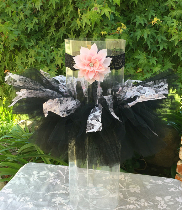 Black Tutu with Pink Lace
