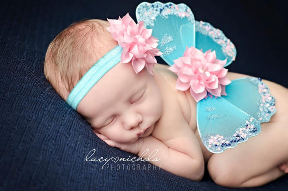 Blue Butterfly Wings with Pink Flower Headband - newborn photo prop