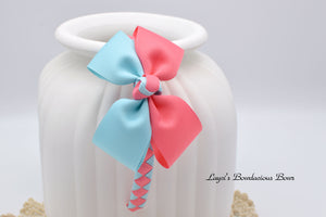 Two-tone Blue and Coral Rose Double Bow Tie Bow on Matching Woven Headband - Custom color available