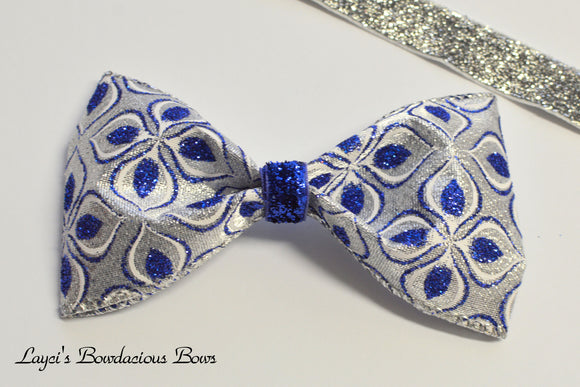 blue and silver hair bow, christmas hair bows, holiday bows