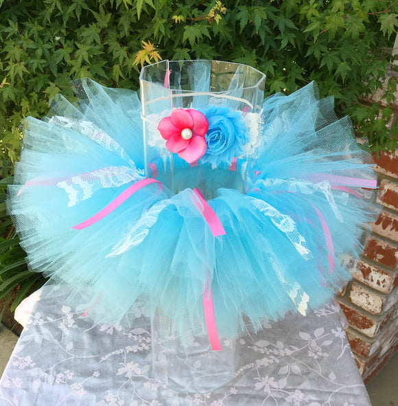 Blue Tutu with Pink Ribbons