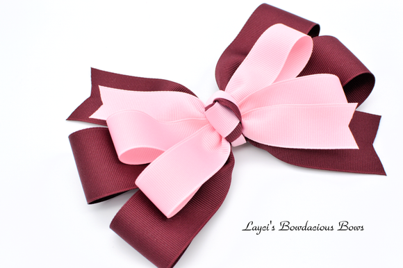 burgandy hair bow, pink and burgandy, two color bows, pinwheel bows