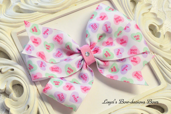 valentine's day bows, candy heart bow