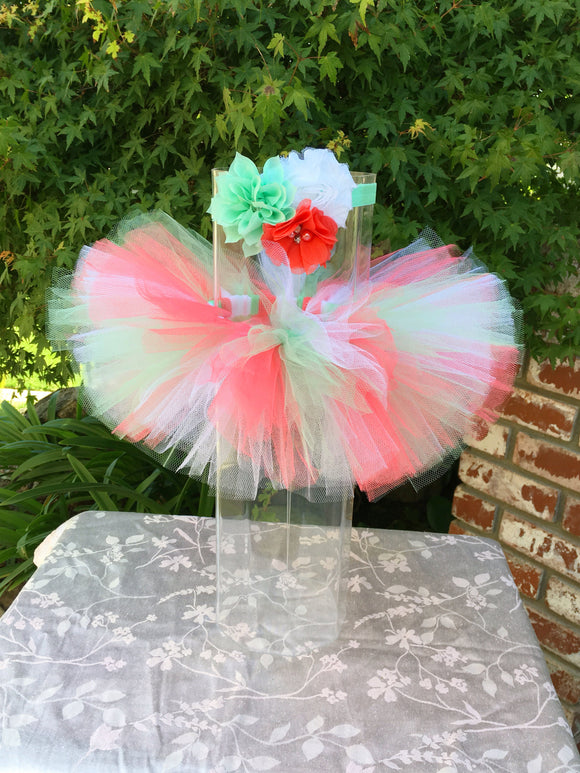Coral, Mint and White Tutu