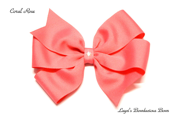 small coral bow, medium coral bow, large coral bow, extra large coral bow, coral pinwheel hair bow