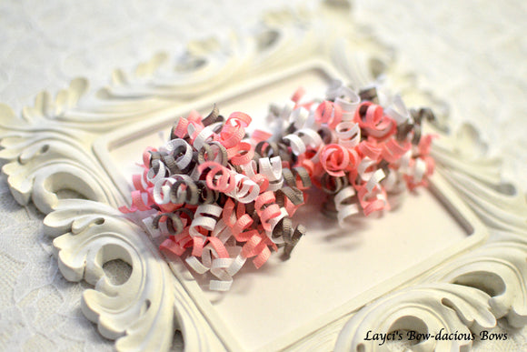 pink and grey hair bows, korker bows, baby bows, corkers, birthday bows