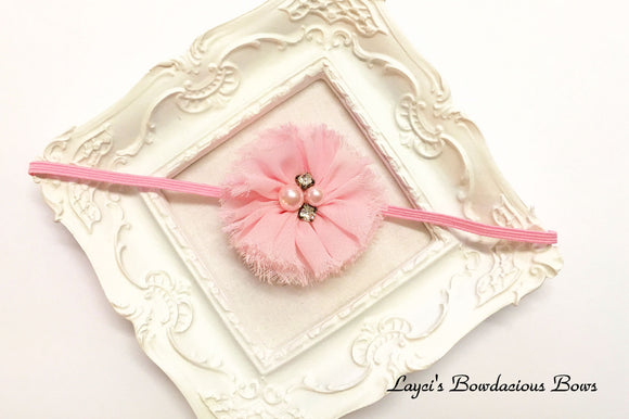 Dainty Pink Ballerina Flower on Skinny Band