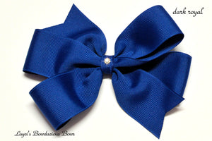 small dark royal bow, medium royal bow, large royal blue bow, extra large royal blue bow, royal blue pinwheel hair bow