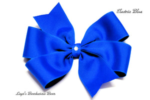 small electric blue bow, medium electric blue bow, large electric blue bow, extra large electric blue bow, electric blue pinwheel hair bow