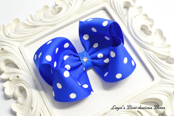 Electric Blue Polka Dot Boutique Bow