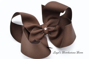 Extra Large Brown Boutique Hair Bow - Ready to Ship - Rts4