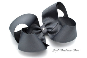 Extra Large Flannel Gray Boutique Hair Bow - Ready to Ship - Rts4