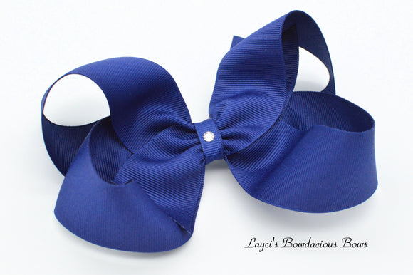Extra Large Light Navy Boutique Hair Bow - Ready to Ship - Rts4
