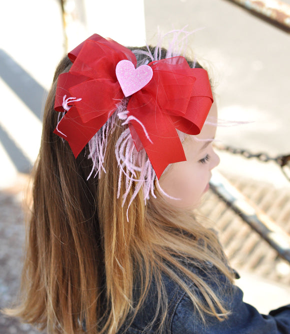 Red or Pink Layered Tails Down Valentine's Day Bow