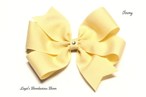 small ivory bow, medium ivory bow, large ivory bow, extra large ivory bow, ivory pinwheel hair bow