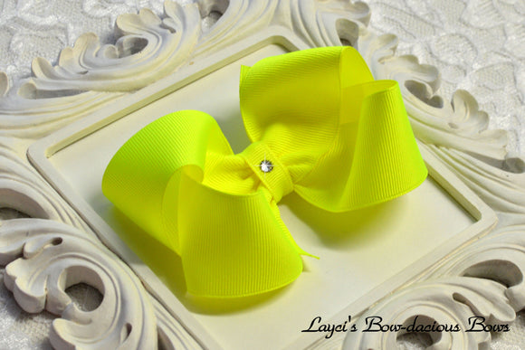 large ansi yellow boutique hair bow, neon yellow bow