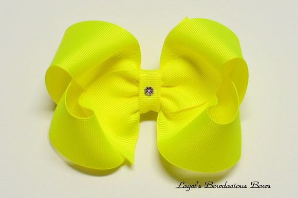 large neon yellow boutique hair bow