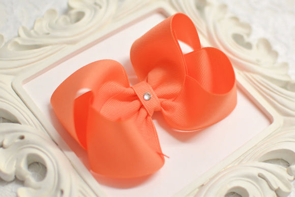 large apricot boutique hair bow