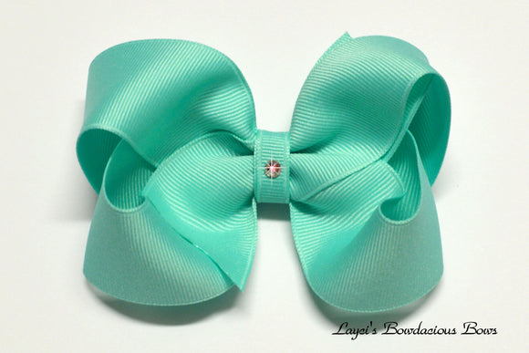 small, medium, large, extra large aqua hair bow, aqua baby bow