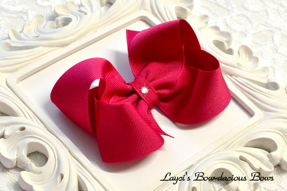 large azalea boutique hair bow, dark pink hair bows, pink baby bows