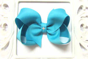 small, medium, large, extra large blue lagoon hair bow