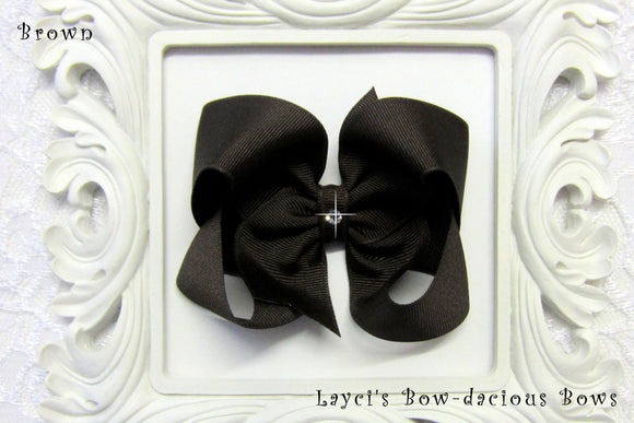 large brown boutique hair bow