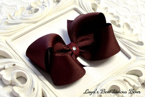 large burgandy boutique hair bow