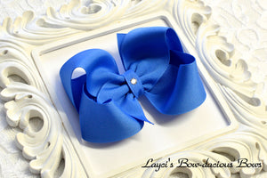 capri blue boutique hair bow, baby bow, large blue bow