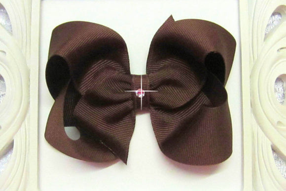 brown hair bow, chocolate chip bow
