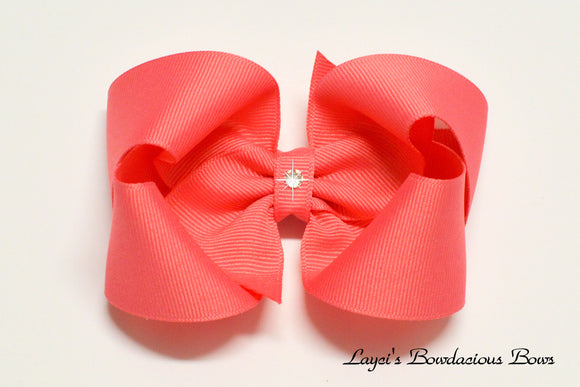 large coral rose boutique hair bow