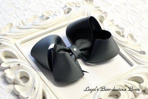 flannel grey boutique hair bow