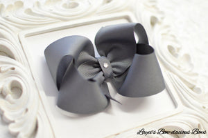 grey gray hair bow