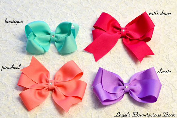 large boutique, pinwheel, tails down, classic hair bows, girls bows