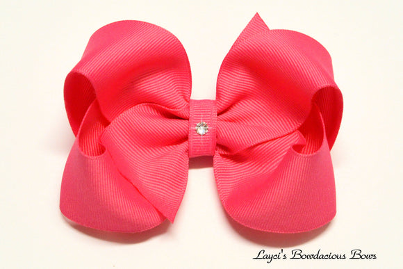 small, medium, large, extra large hot pink boutique hair bow, hot pink baby bows