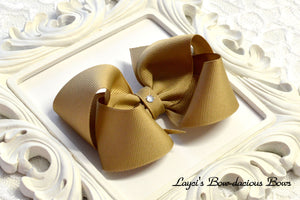 large khaki boutique hair bow