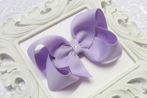 lavender boutique hair bow, lavender baby bow, large lavender bow