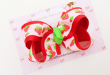 Large Layered Strawberry Hair Bow