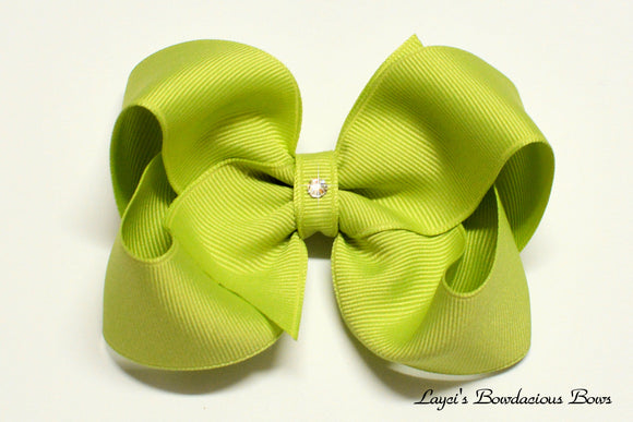 lemon grass boutique hair bow, green hair bow