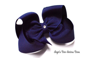 light navy boutique hair bow