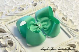 lucite boutique hair bow, aqua baby bow, large aqua bow